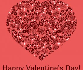 Pink valentine card with floral heart vector