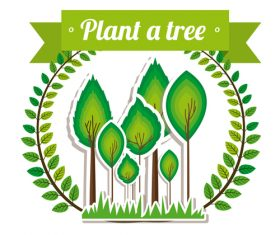 Plant tree sign vector material