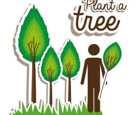 Plant tree sticker vectors