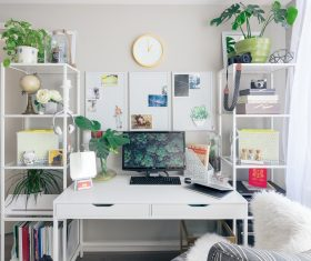 Plants and computers on desk shelves Stock Photo