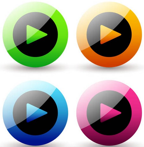 Play Icons free vector