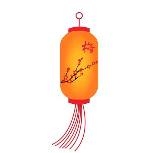 Plum pattern festive lantern