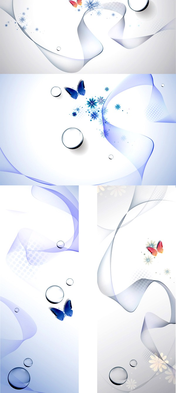 Poetic butterfly water background vector