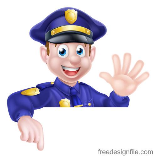 Police cartoon design illustration vector 05