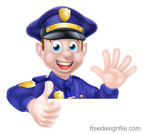 Police cartoon design illustration vector 08