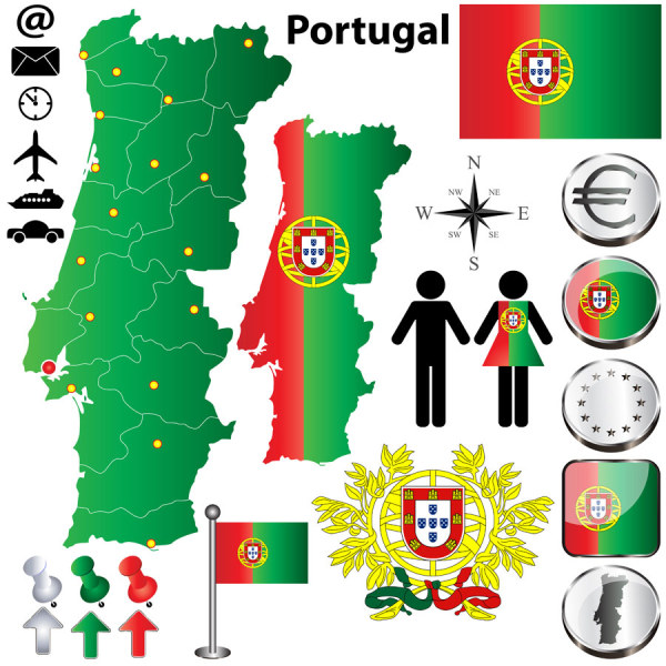 Portugal elements set vector