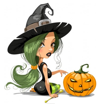 Pretty Witch with Halloween Illustration vector