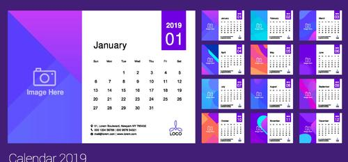 Purple 2019 calendar template vectors