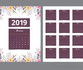 Purple Calendar 2019 with flower vector