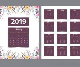 Purple Calendar 2019 with flower vector