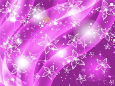 Purple Flowers Stars Background vectors graphics