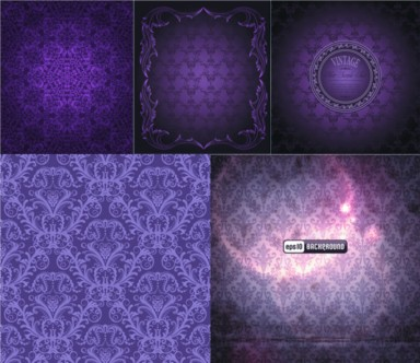 Purple background classical pattern vectors graphic