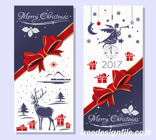 Purple christmas banners with snowy winter forest vector