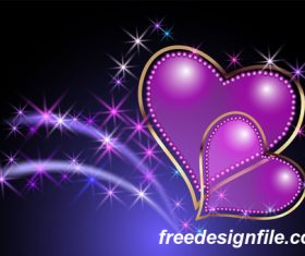 Purple heart with valentine card vector material