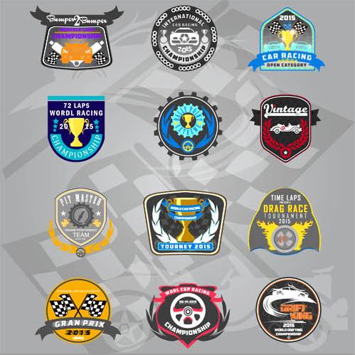 Racing Retro Labels shiny vector