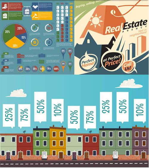 Real Estate Backgrounds 10 set vector