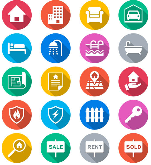 Real Estate Icons Set creative vector