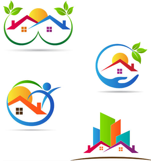 Real Estate Logo Set 4 vector