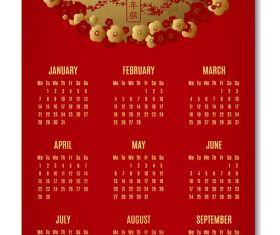 Red 2019 pig year calendar template vector