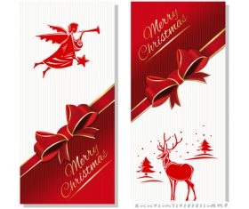 Red Gift Christmas card vector