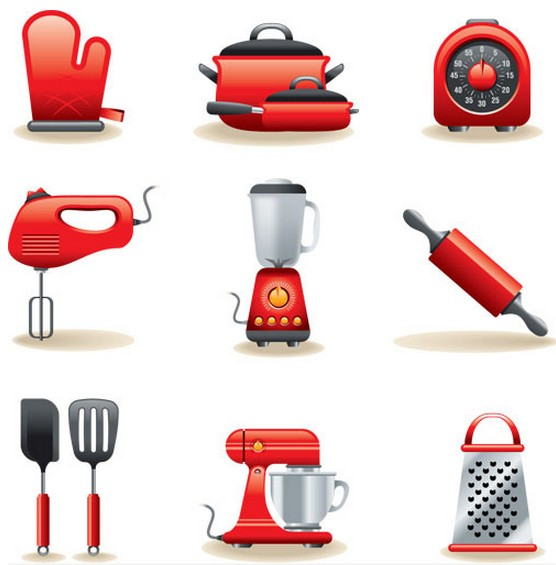 Red Kitchen Icons set vector