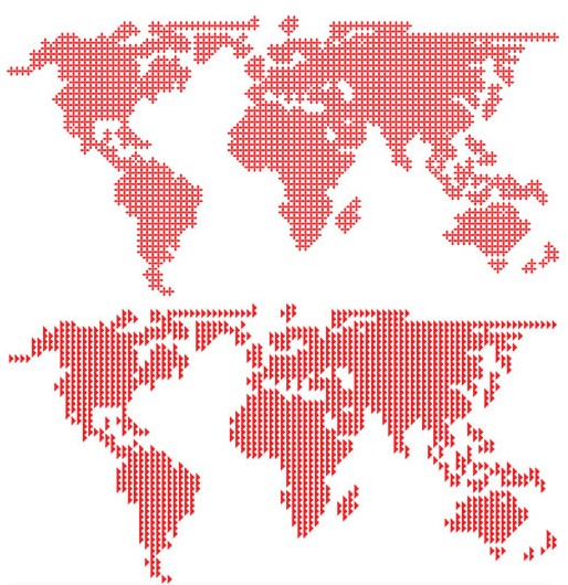 Red World Maps vector