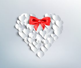 Red bows with white heart background vector