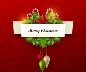 Red christmas background with xmas card design vector 01