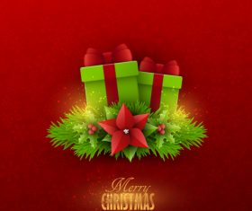 Red christmas background with xmas card design vector 04