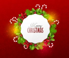 Red christmas background with xmas card design vector 05
