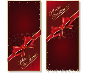 Red christmas banners with red ribbon and bow vector