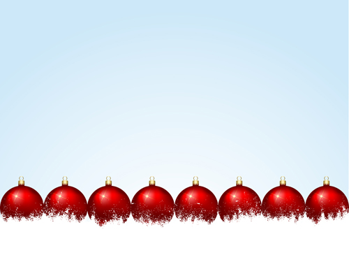 Red christmas baubles set vector