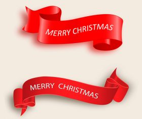 Red christmas ribbon banners vectors 01