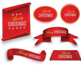 Red christmas sticker with banners and ribbon vector