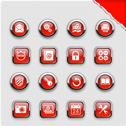 Red computer icons collection Free vector