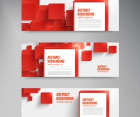 Red cube with banners template vector 02