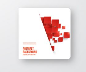Red cube with brochure cover template vector 02