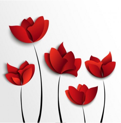 Red flowers vector graphics
