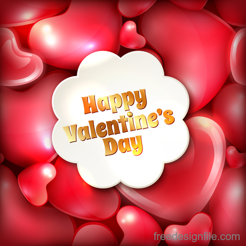 Red heart background with valentine cards vector