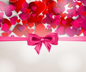 Red heart valentine backgrounds with ribbon bows vector