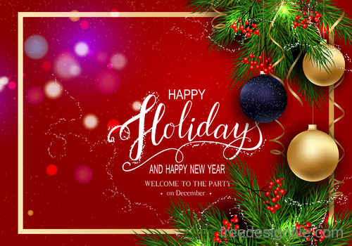 Red new year background with christmas baubles vector 01