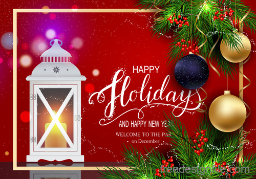 Red new year background with christmas baubles vector 02