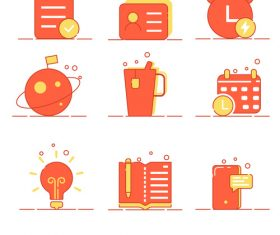 Red office learning class small icons vector