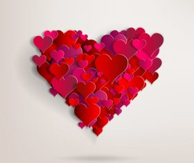Red paper heart valentine backgrounds design vector 01