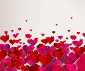 Red paper heart valentine backgrounds design vector 02