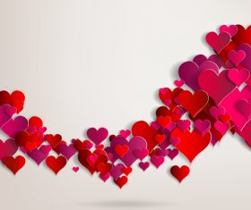 Red paper heart valentine backgrounds design vector 03