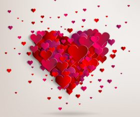 Red paper heart valentine backgrounds design vector 04