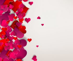 Red paper heart valentine backgrounds design vector 05