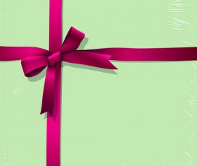 Red ribbon bows with green background vector