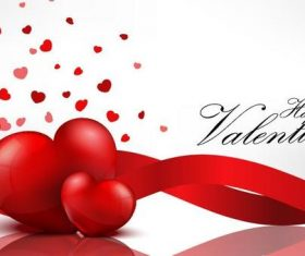 Red ribbon with valentine card vector